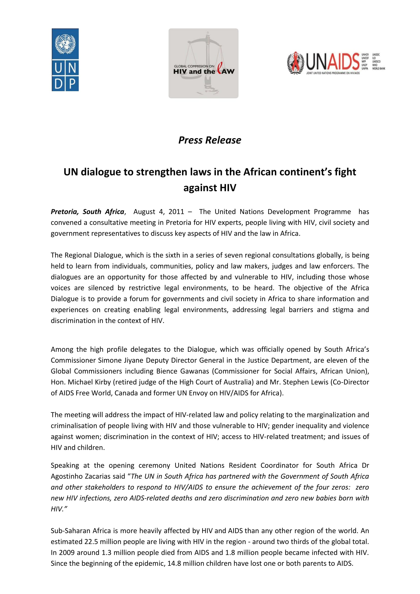 Press Release: UN dialogue to strengthen laws in the African continent's fight against HIV