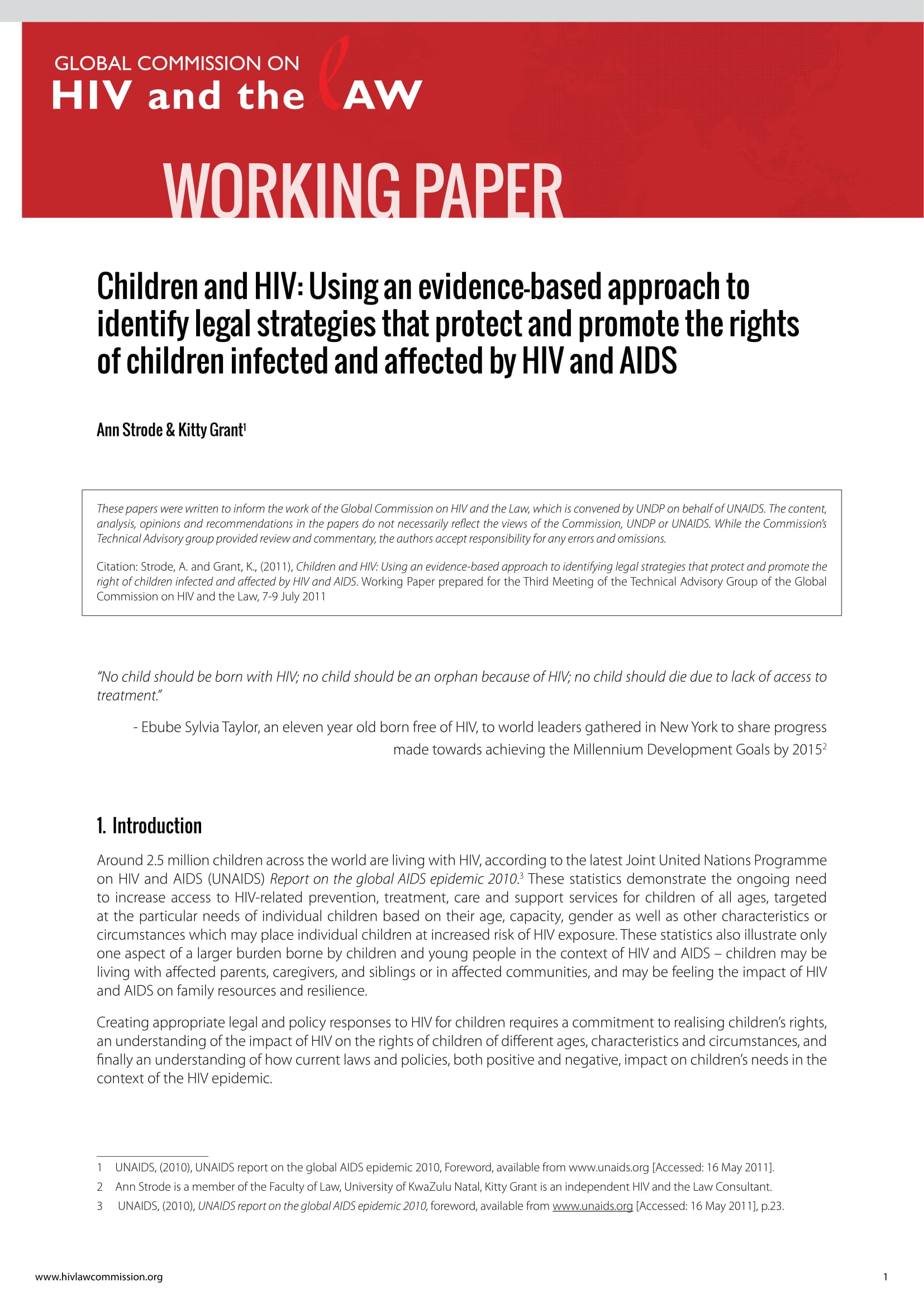 Children and HIV: Using an evidence-based approach to identify legal strategies that protect and promote the rights of children infected and affected by HIV and AIDS