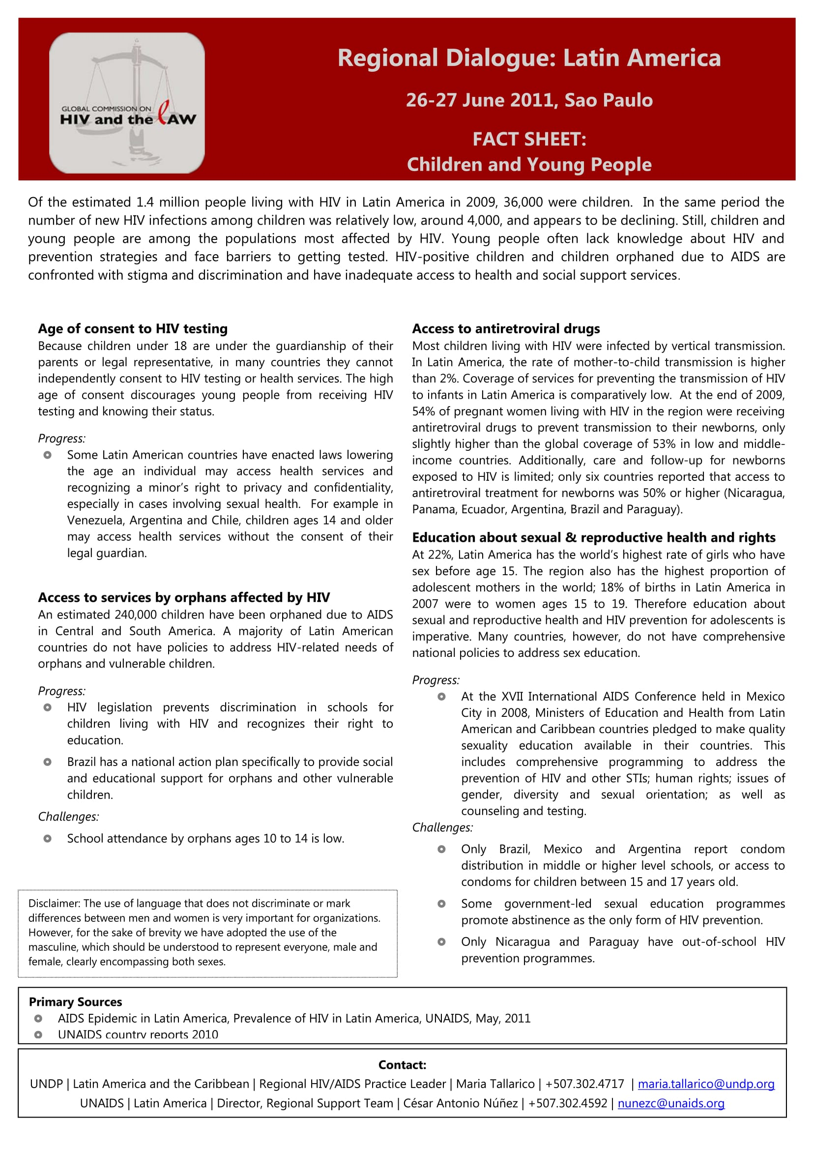 HIV and the Law in Latin America: Fact Sheet – Children and Young People