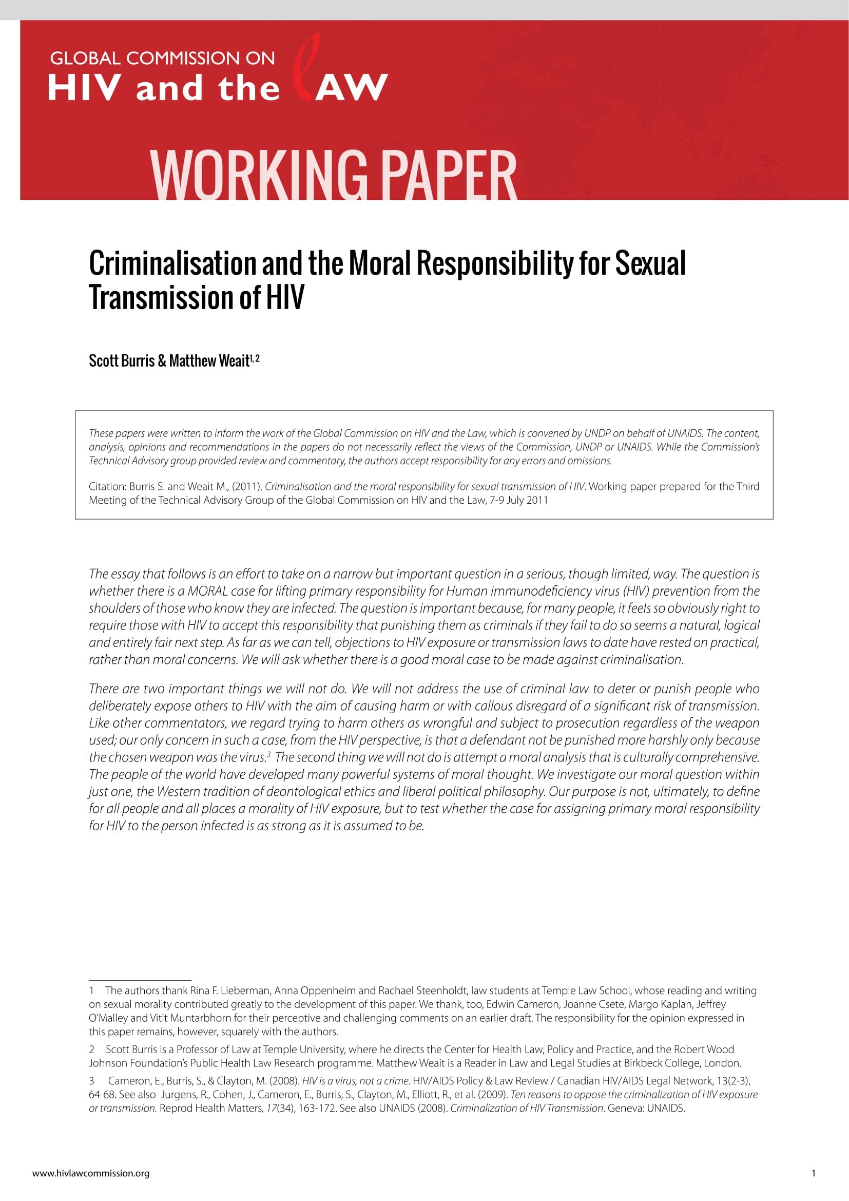 Criminalisation and the Moral Responsibility for Sexual Transmission of HIV