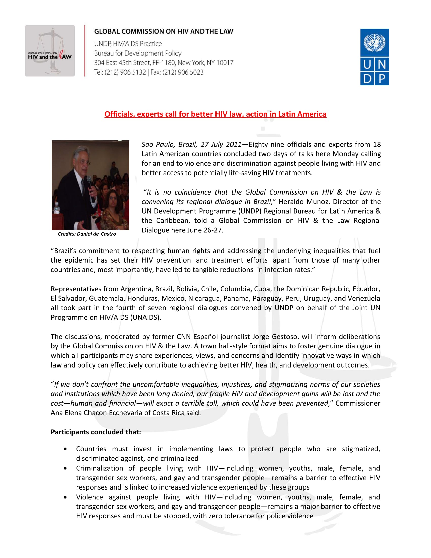 Media Release: Officials, experts call for better HIV law, action in Latin America