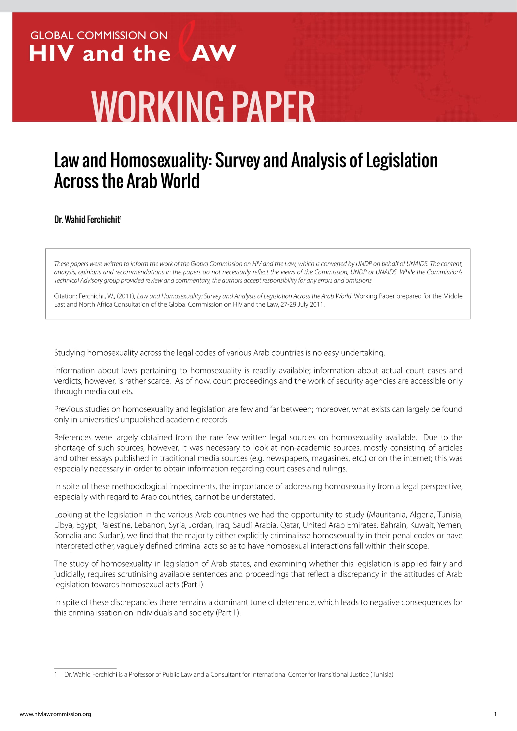 Law and Homosexuality: Survey and Analysis of Legislation Across the Arab World