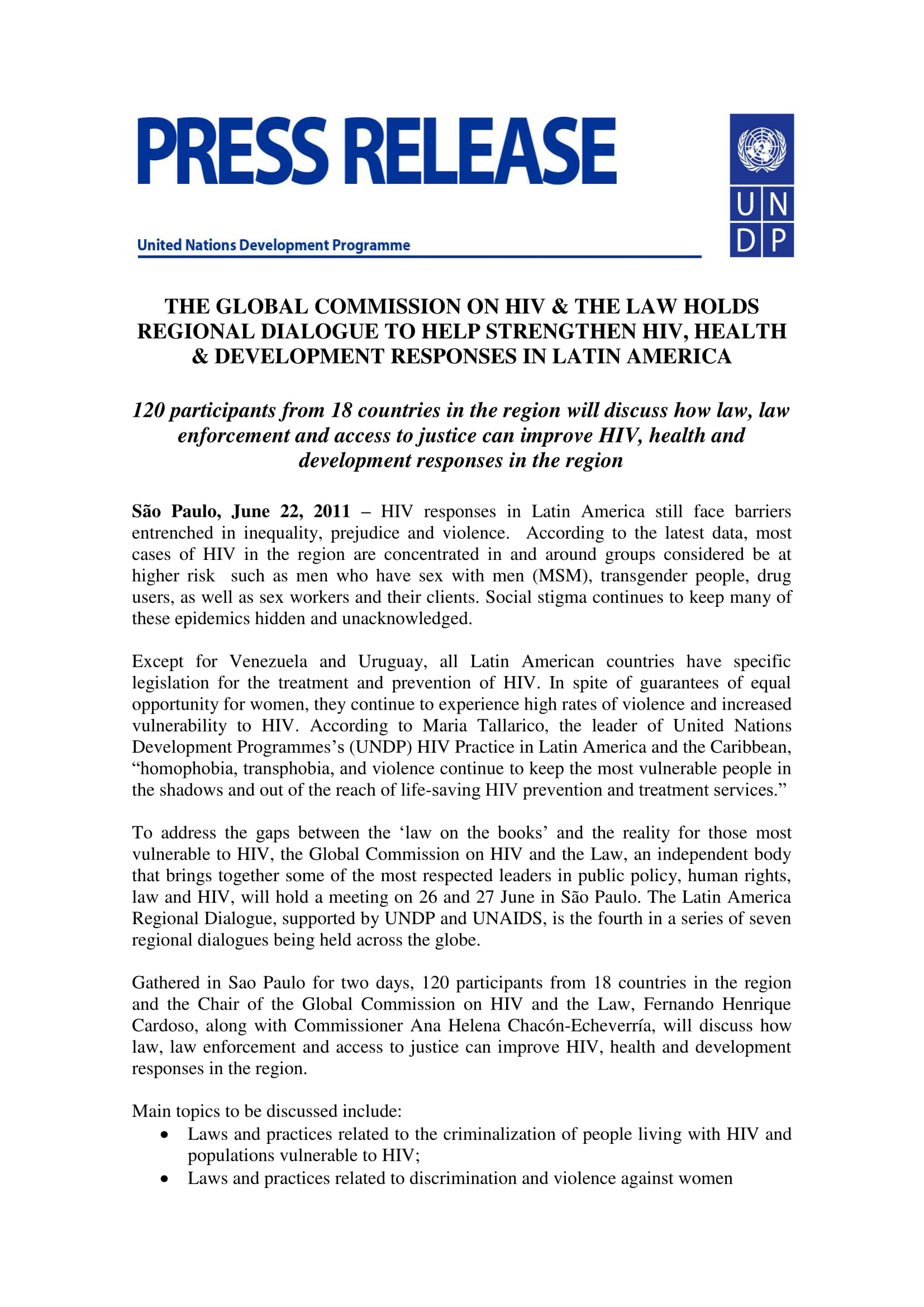 Press Release: The Global Commission on HIV & The Law Holds Regional Dialogue to Help Strengthen HIV, Health & Development Responses in Latin America
