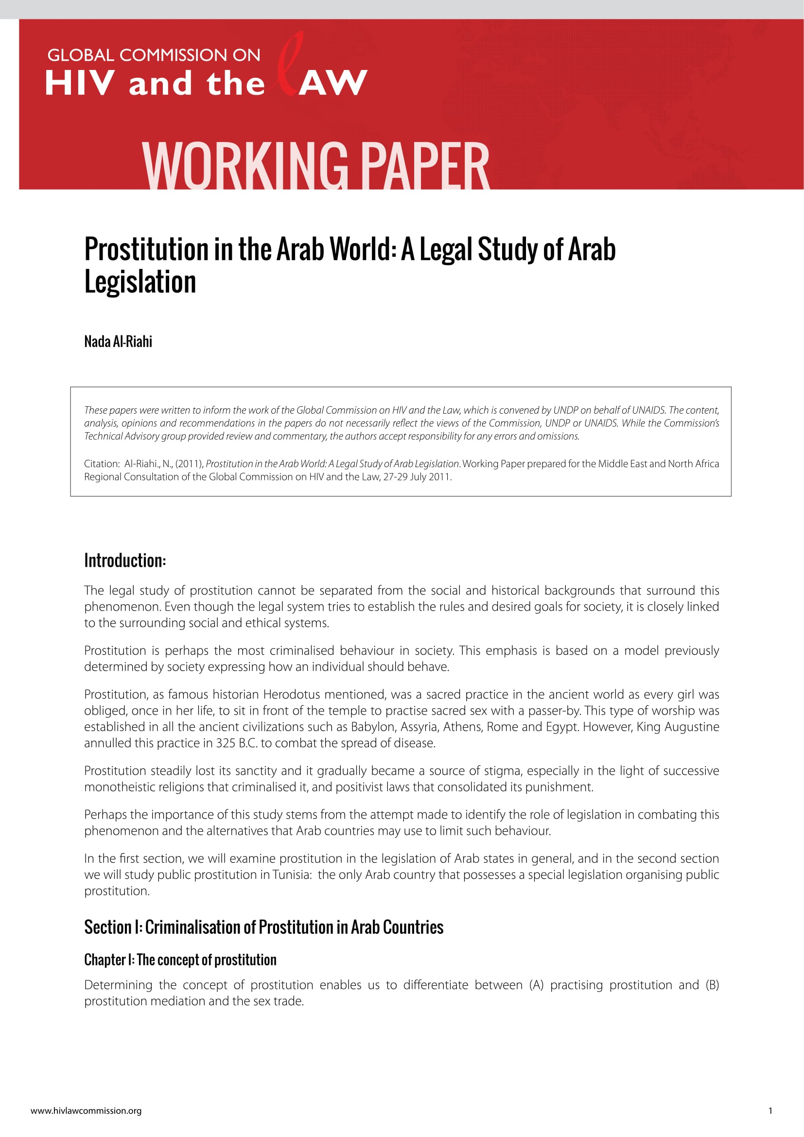 Prostitution in the Arab World: A Legal Study of Arab Legislation