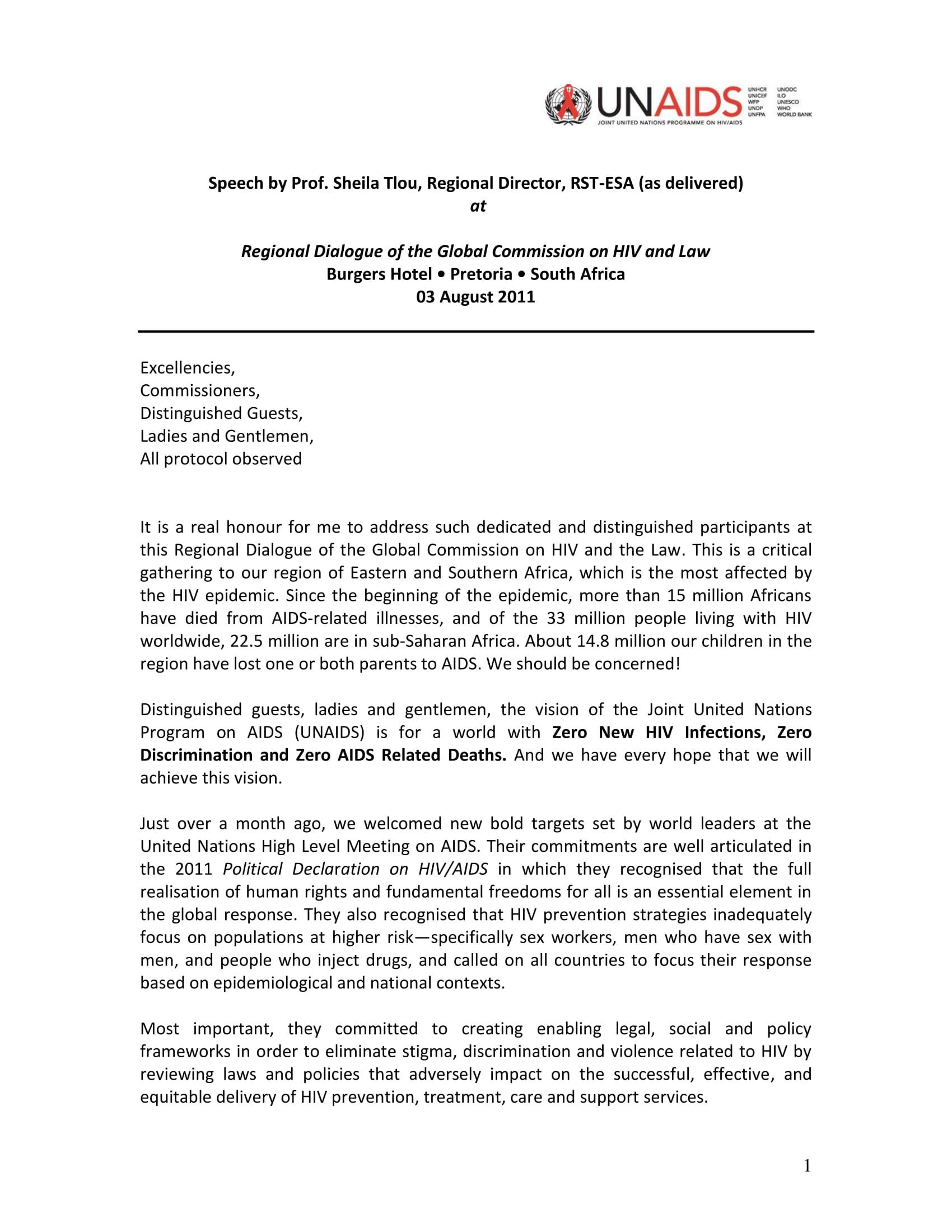 Speech by Prof. Sheila Tlou, Regional Director, UNAIDS RST-ESA