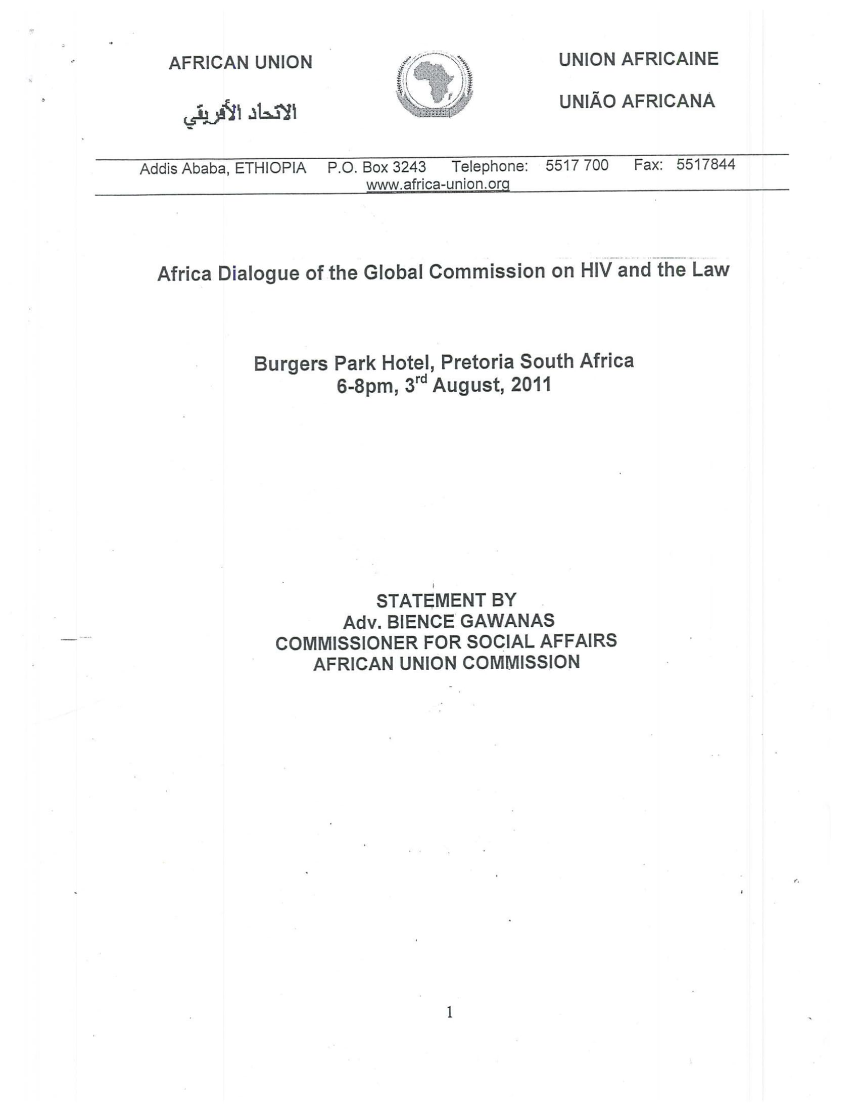 Statement by Commissioner Gawanas, African Union Commission and Global Commission on HIV and the Law