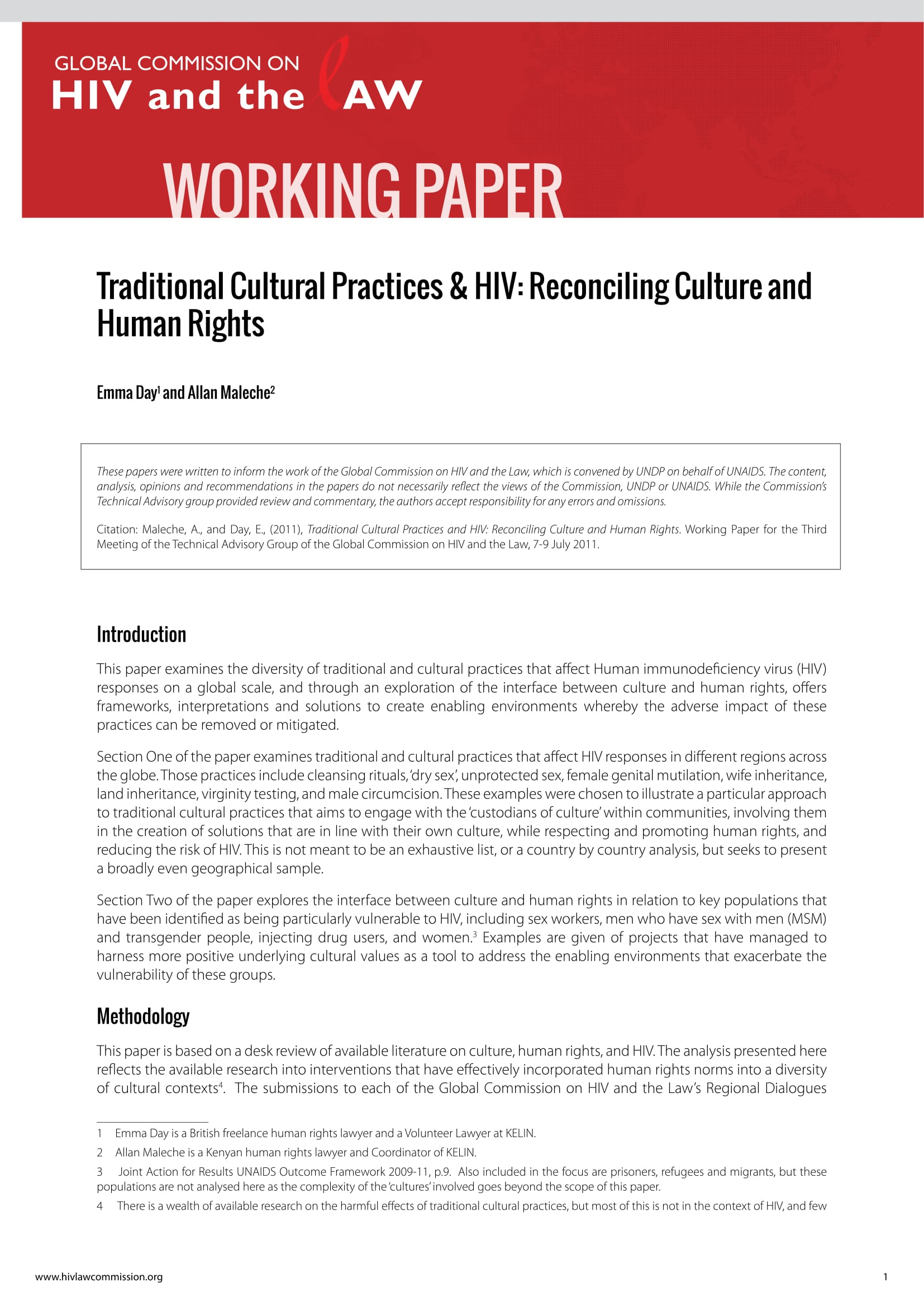 Traditional Cultural Practices and HIV: Reconciling Culture and Human Rights