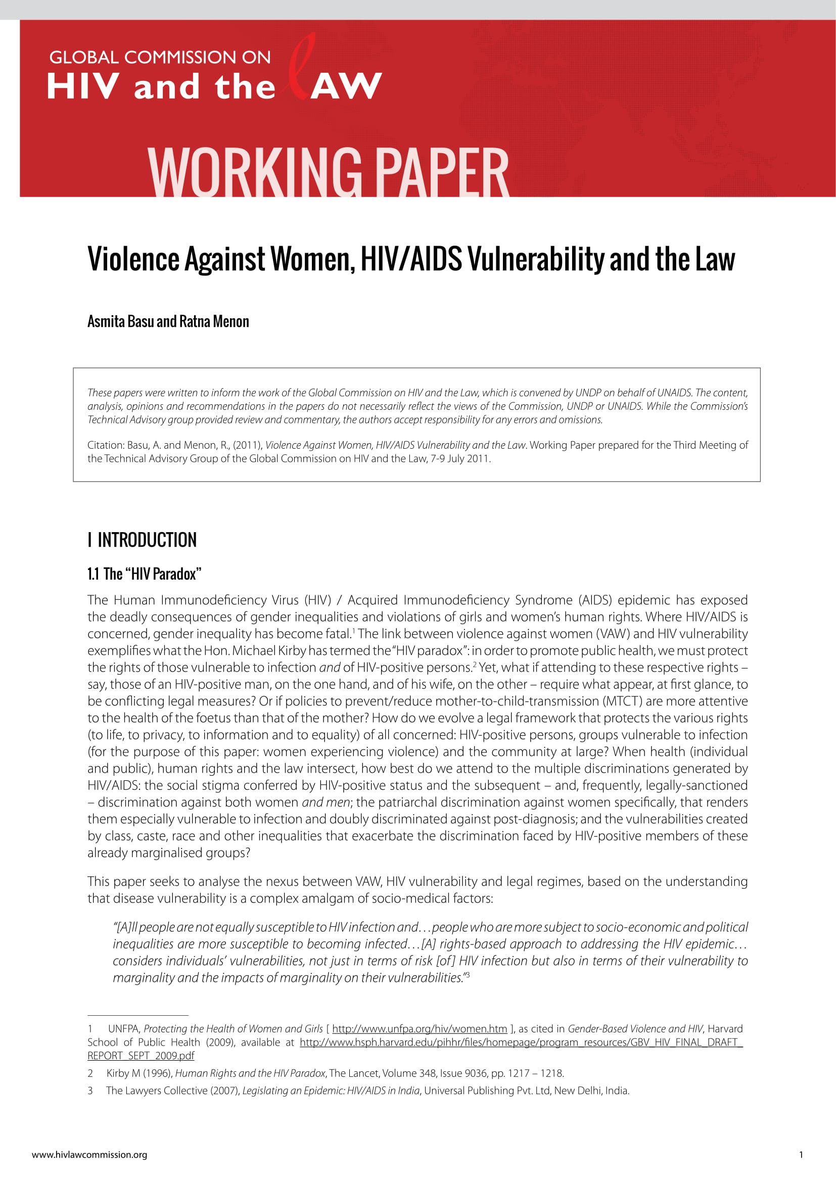 Violence Against Women, HIV/AIDS Vulnerability and the Law