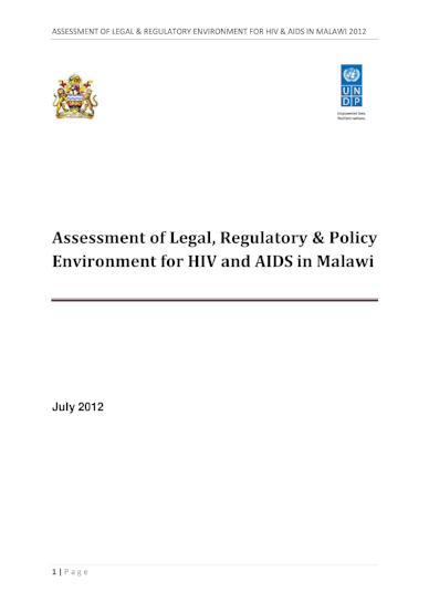 Assessment of Legal, Regulatory & Policy Environment for HIV and AIDS in Malawi