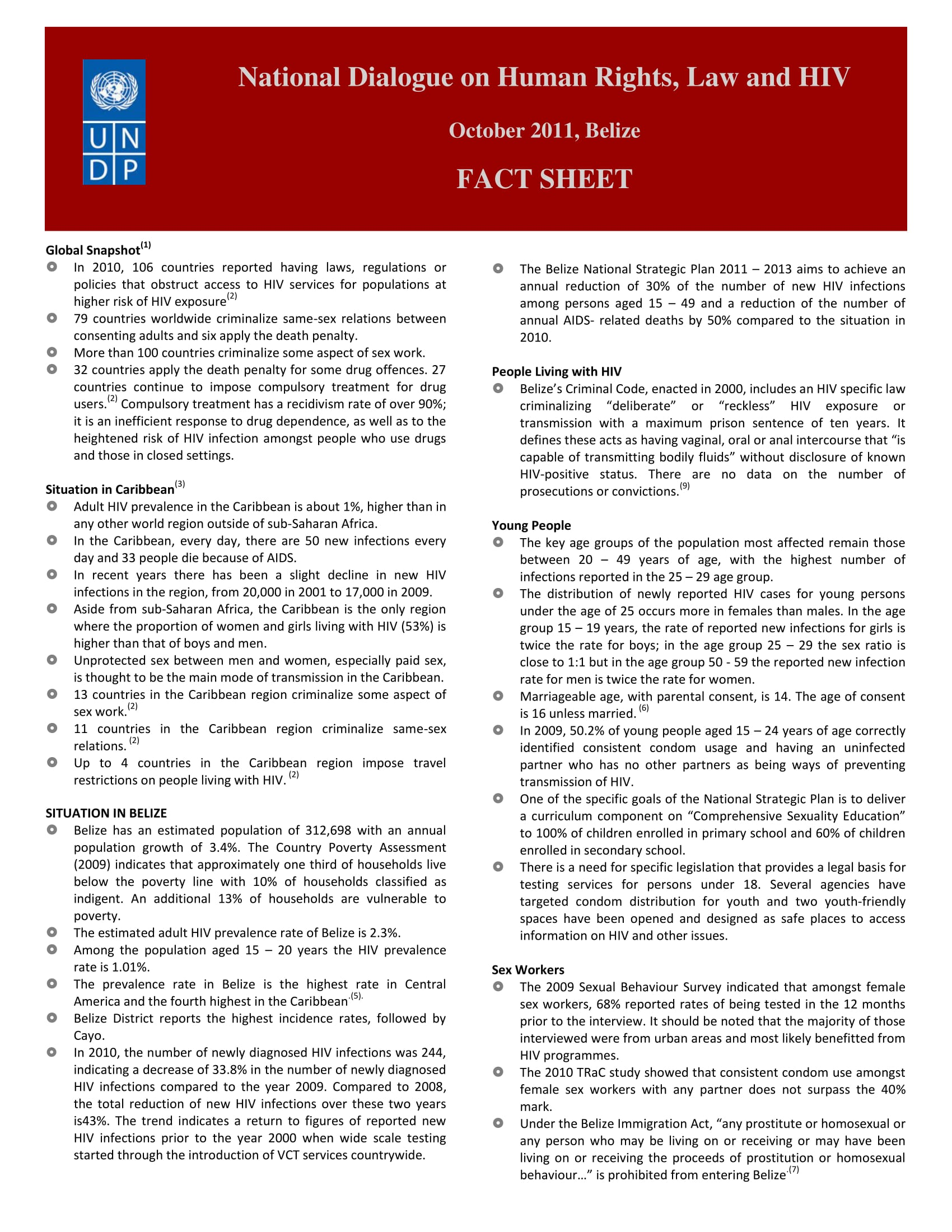 Belize National Dialogue on Human Rights, Law and HIV: Fact Sheet