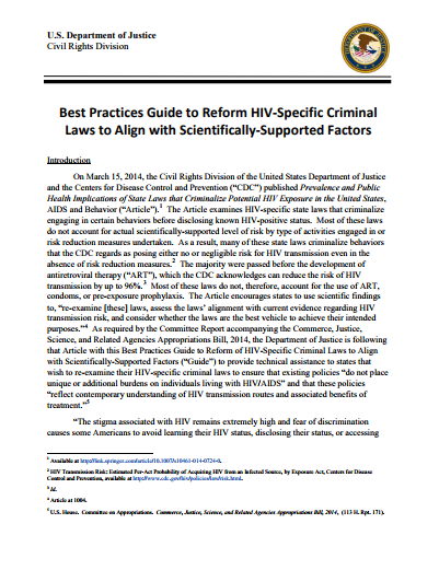 Best Practices Guide to Reform HIV-Specific Criminal Laws to Align with Scientifically-Supported Factors