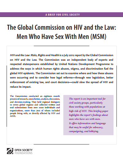HIV and the Law: Men Who Have Sex with Men: Fact Sheet