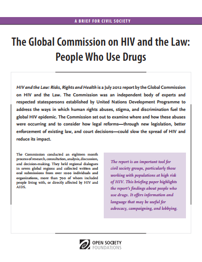 HIV and the Law: People Who Use Drugs: Fact Sheet
