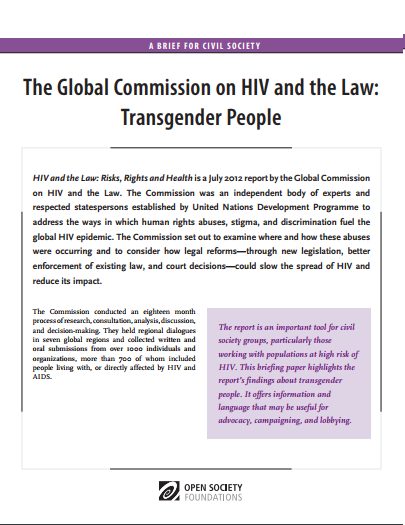 HIV and the Law: Transgender People: Fact Sheet