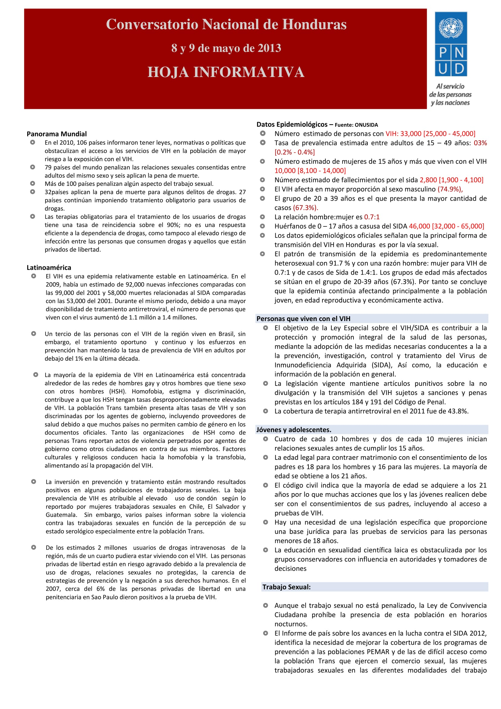 Honduras National Dialogue on HIV and the Law: Information Note