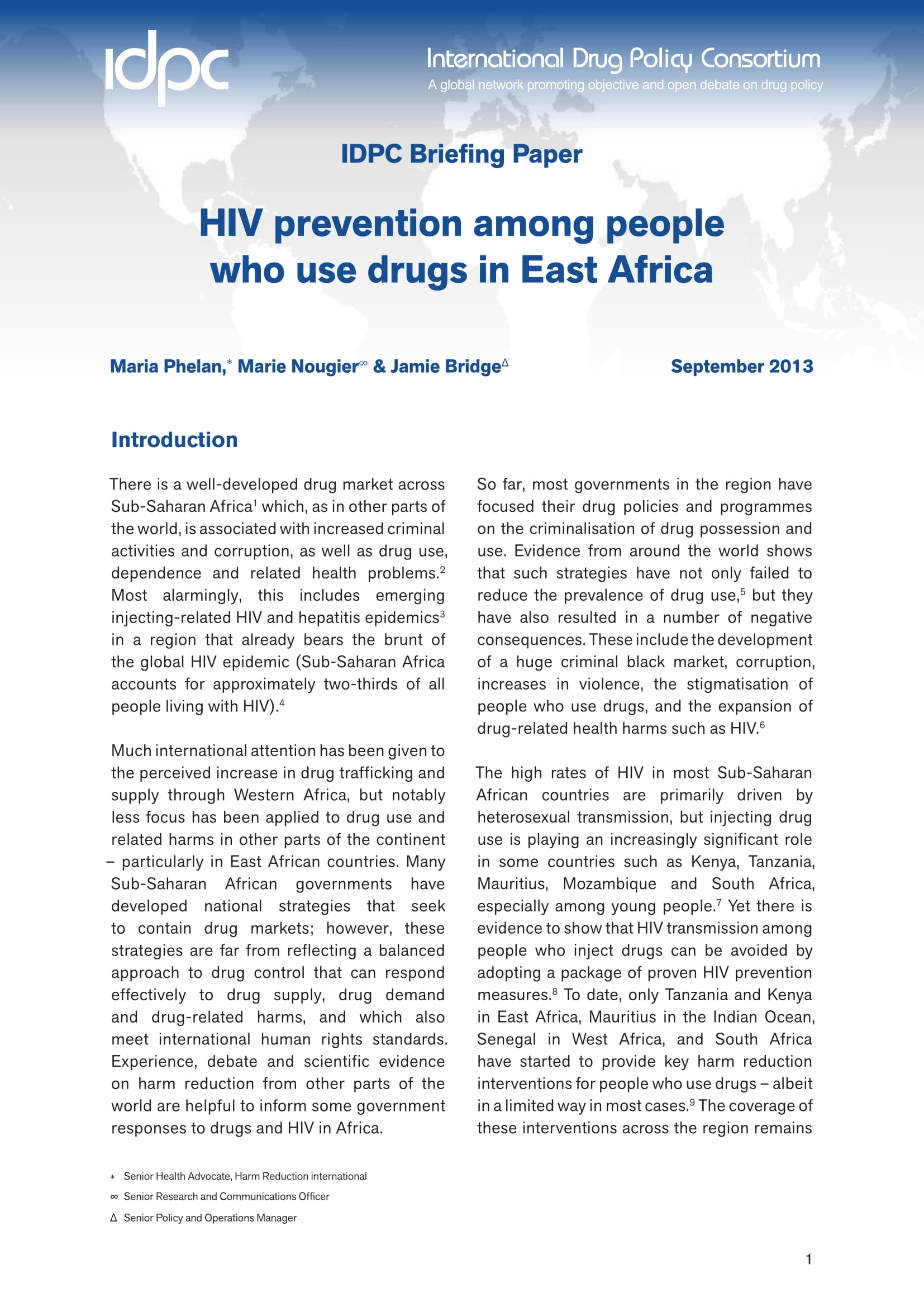 IDPC Briefing Paper: HIV prevention among people who use drugs in East Africa