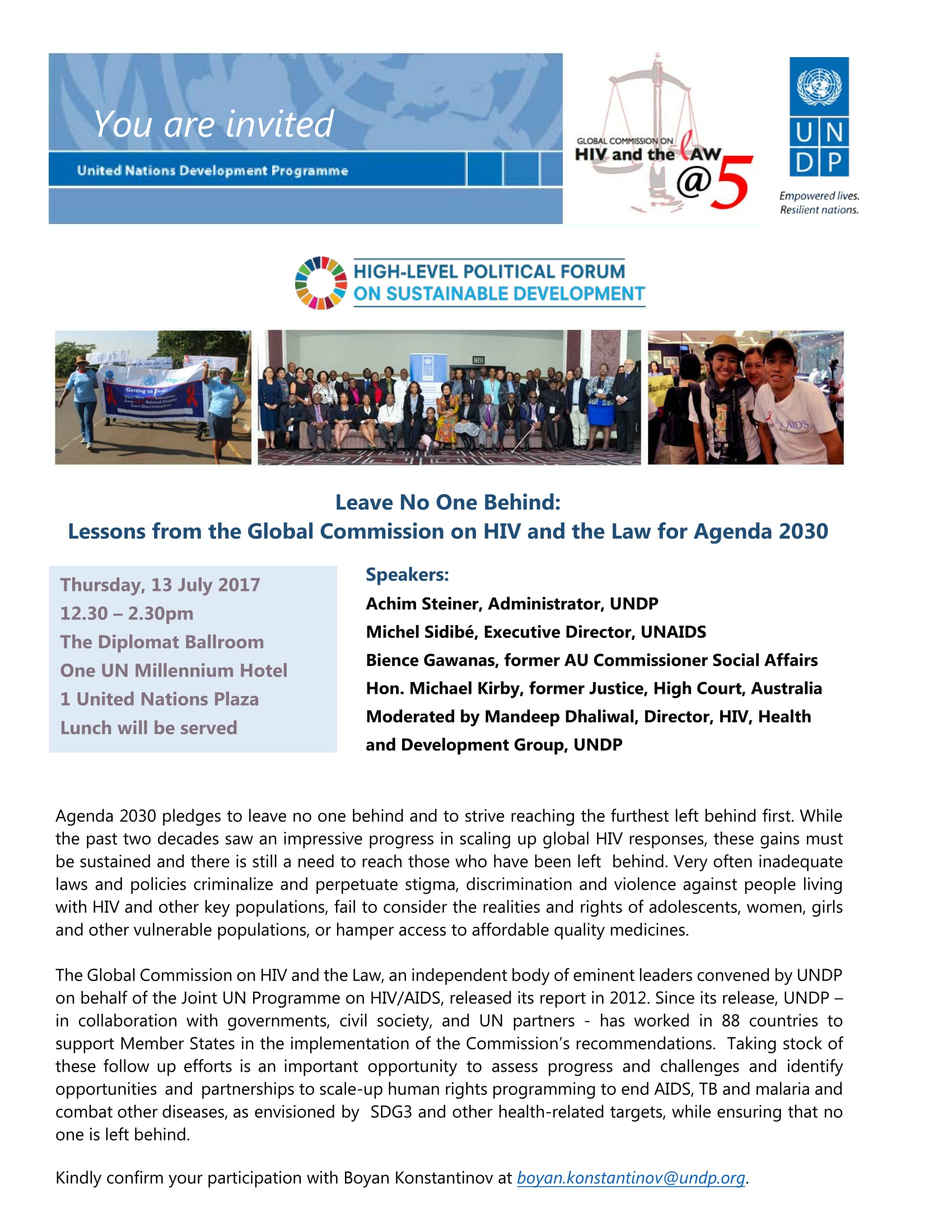 Invitation: Lessons from the Global Commission on HIV and the Law for Agenda 2030