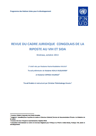 Legal Environment Assessment for HIV Responses in the Democratic Republic of the Congo