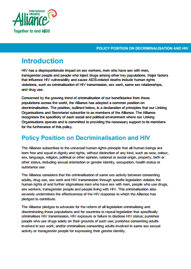 Policy Position on Decriminalisation and HIV