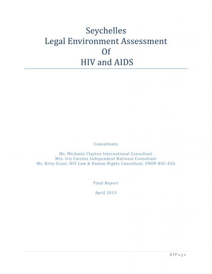 Seychelles Legal Environment Assessment of HIV and AIDS