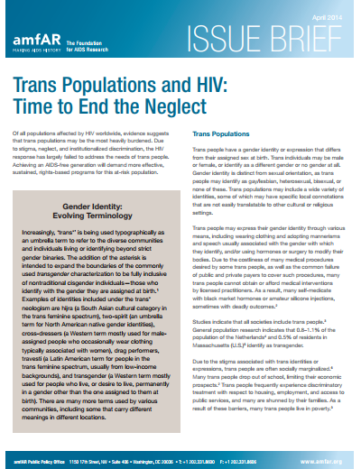 Trans Populations and HIV: Time to End the Neglect - Issue Brief