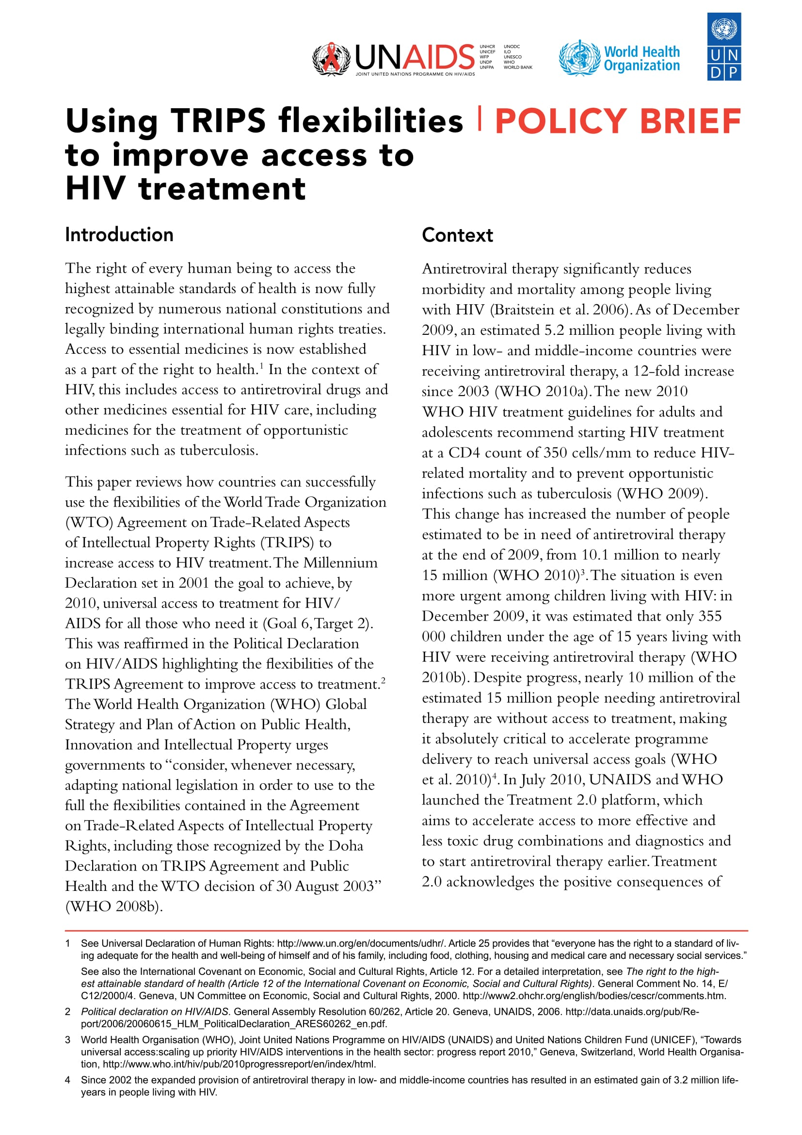 Using TRIPS flexibilities to improve access to HIV treatment: Policy brief