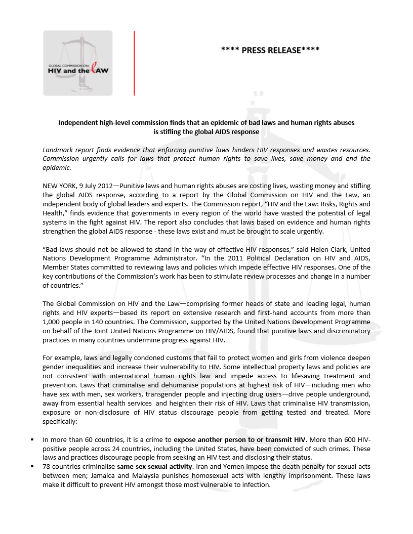 Press Release: HIV and the Law: Risks, Rights and Health