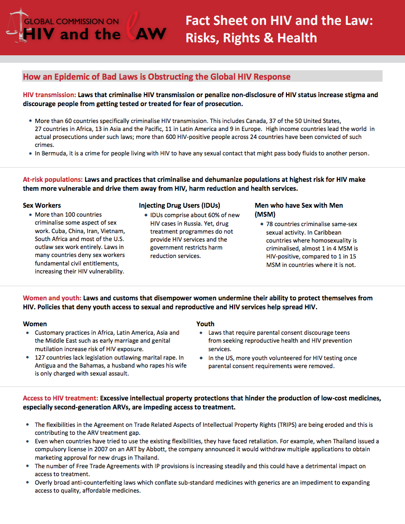 Fact Sheet on HIV and the Law: Risks, Rights & Health