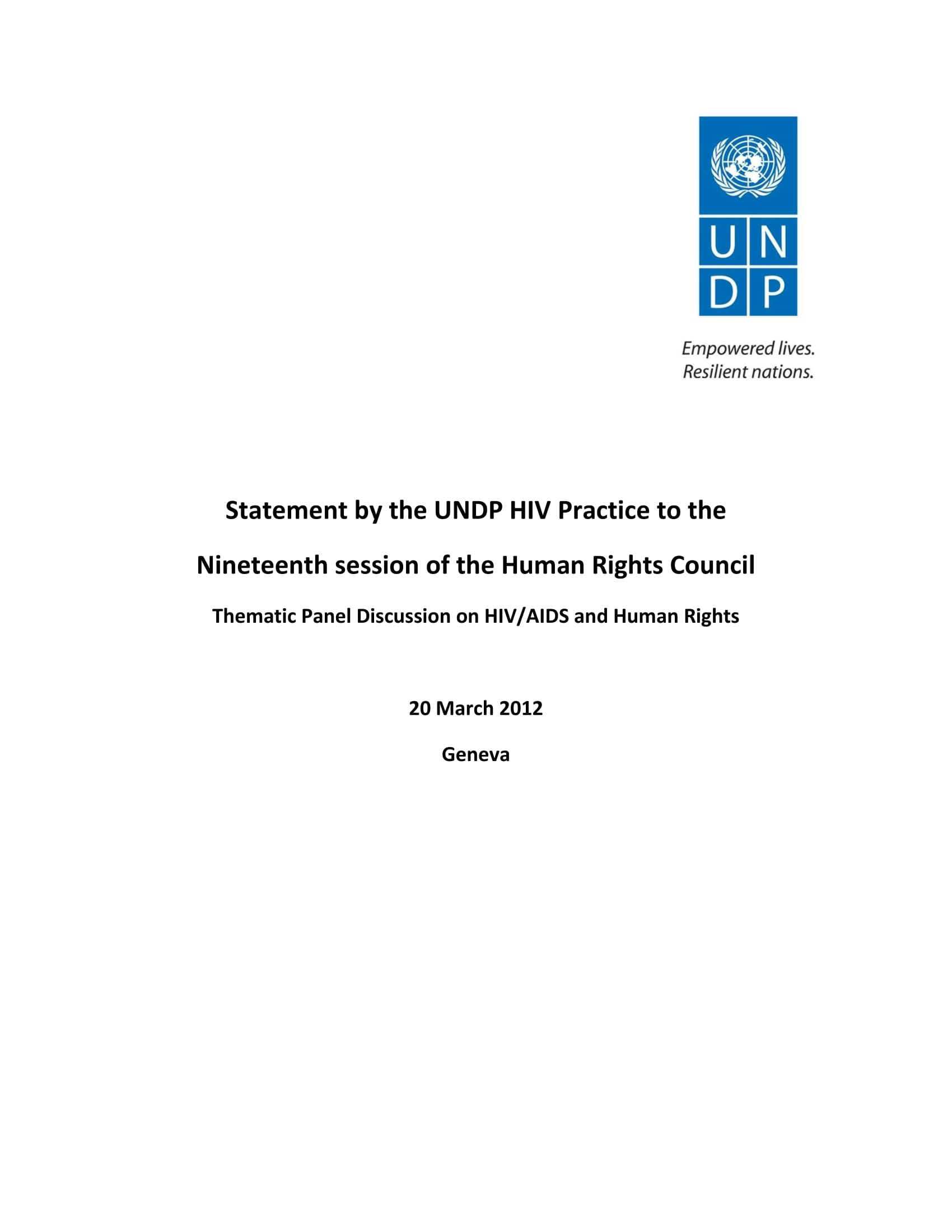 UNDP statement to the 19th Session of the Human Rights Council