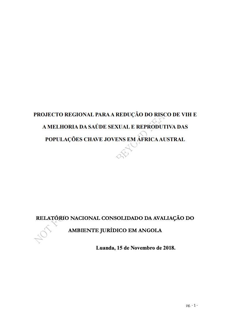 PROJECTO REGIONAL PARA A REDUÇÃO DO RISCO DE VIH E A MELHORIA DA SAÚDE SEXUAL E REPRODUTIVA DAS POPULAÇÕES CHAVE JOVENS EM ÁFRICA AUSTRAL