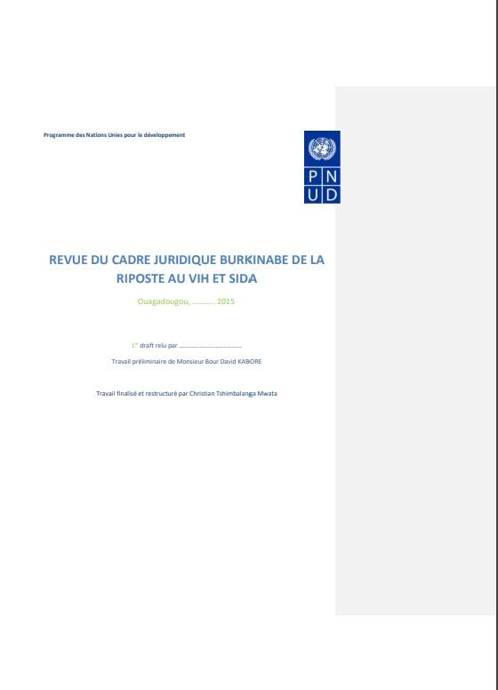 REVUE DU CADRE JURIDIQUE BURKINABE DE LA RIPOSTE AU VIH ET SIDA